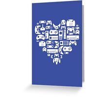 Controller Love (White on Blue) Greeting Card