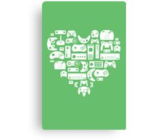 Controller Love (White on Green) Canvas Print