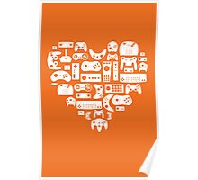 Controller Love (White on Orange) Poster