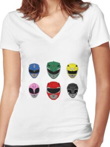 Mighty Morphin' Power Rangers Women's Fitted V-Neck T-Shirt