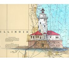 Chicago Harbor Lighthouse IL Chart Cathy Peek Photographic Print