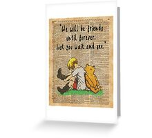 Winnie The Pooh Friendship Forever Vintage Dictionary Art Greeting Card