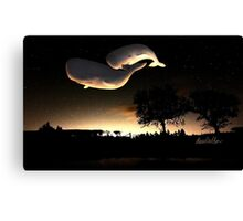 Whales at sunset Canvas Print