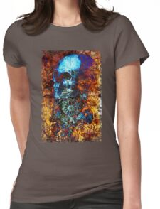 Skull and Flowers Womens Fitted T-Shirt