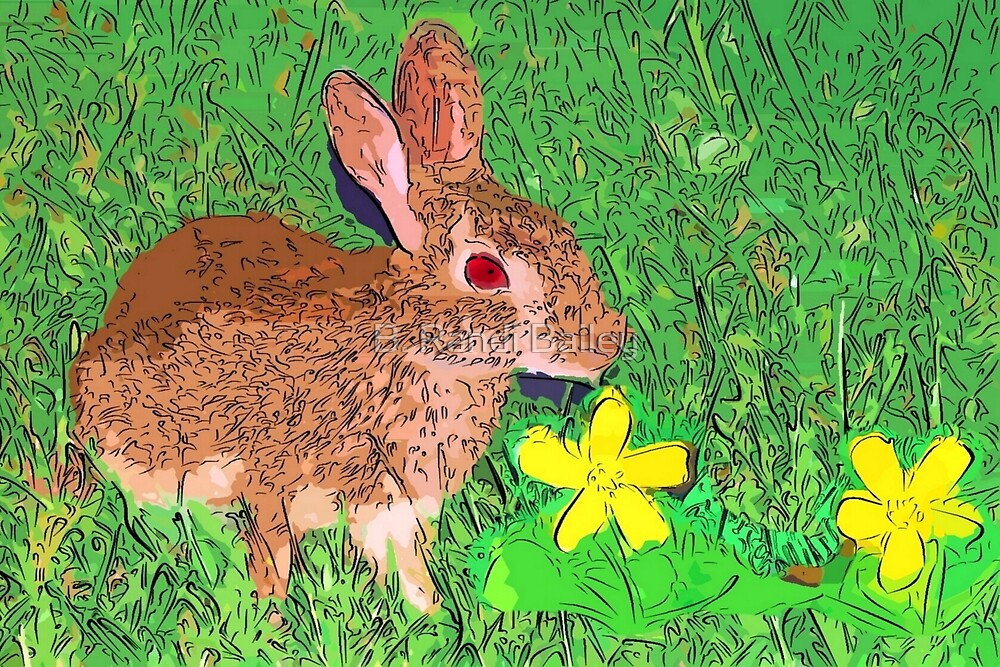 Bunny in yellow clover patch by ♥⊱ B. Randi Bailey