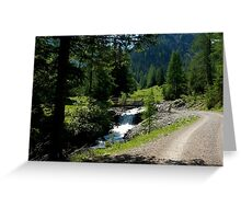 Path along the mountain stream Greeting Card