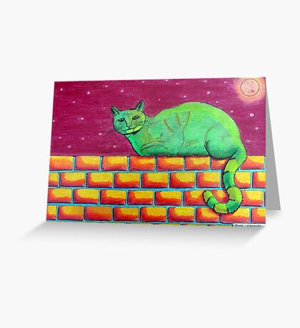354 - GREEN CAT ON A WALL - DAVE EDWARDS - COLOURED PENCILS - 2012 Greeting Card