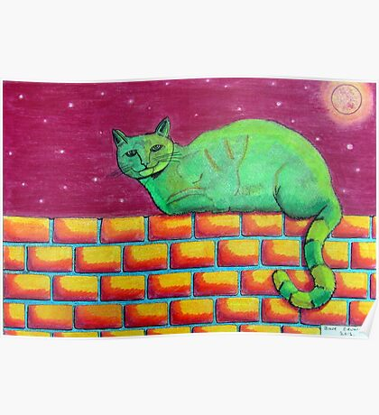 354 - GREEN CAT ON A WALL - DAVE EDWARDS - COLOURED PENCILS - 2012 Poster