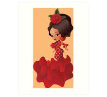 Flamenco cartoon chibi kawaii girl Art Print