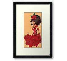 Flamenco cartoon chibi kawaii girl Framed Print