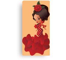 Flamenco cartoon chibi kawaii girl Canvas Print