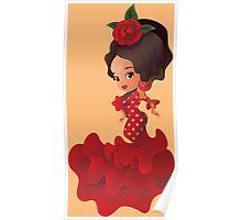 Flamenco cartoon chibi kawaii girl Poster