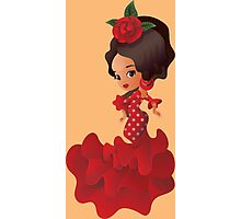 Flamenco cartoon chibi kawaii girl Photographic Print