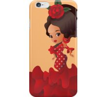 Flamenco cartoon chibi kawaii girl iPhone Case/Skin