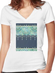 Art Deco Double Drop in Blues and Greens Women's Fitted V-Neck T-Shirt