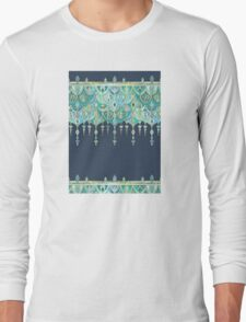 Art Deco Double Drop in Blues and Greens Long Sleeve T-Shirt