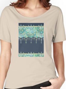 Art Deco Double Drop in Blues and Greens Women's Relaxed Fit T-Shirt