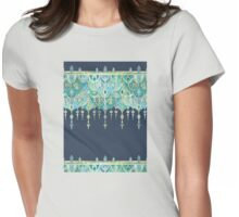 Art Deco Double Drop in Blues and Greens Womens Fitted T-Shirt