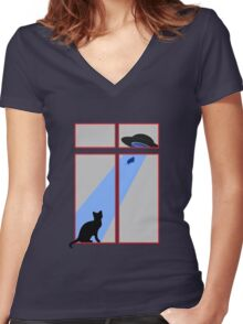 My cat saw an abduction by the window Women's Fitted V-Neck T-Shirt
