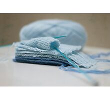 Baby Blue knitting Photographic Print