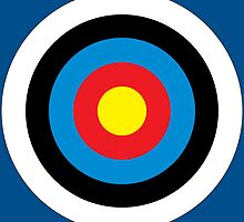 Bulls Eye, Right on Target, Roundel, Archery, on NAVY by TOM HILL - Designer