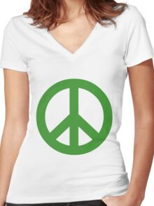 Peace - green. Women's Fitted V-Neck T-Shirt