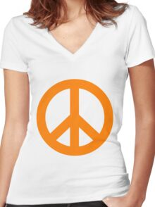 Peace - orange. Women's Fitted V-Neck T-Shirt
