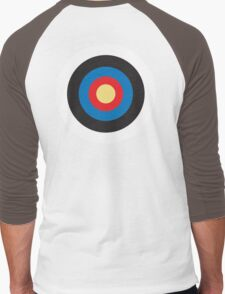 Bulls Eye, Right on Target, Roundel, Archery, Mod, Hit, on Blue Men's Baseball ¾ T-Shirt