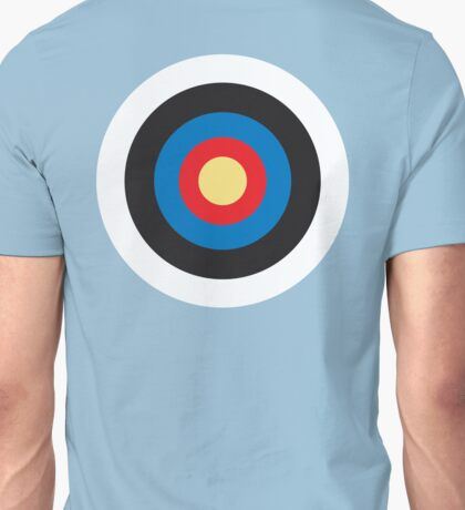 Bulls Eye, Right on Target, Roundel, Archery, Mod, Hit, on Blue Unisex T-Shirt