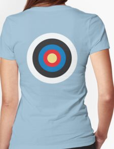 Bulls Eye, Right on Target, Roundel, Archery, Mod, Hit, on Blue Womens Fitted T-Shirt