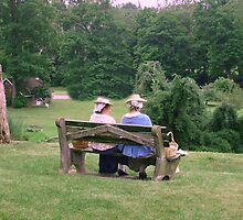 Re-enactors ar Ringwood Manor - Colonial women resting and chatting by Jane Neill-Hancock