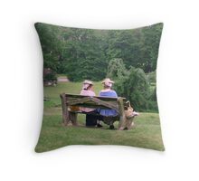 Re-enactors ar Ringwood Manor - Colonial women resting and chatting Throw Pillow