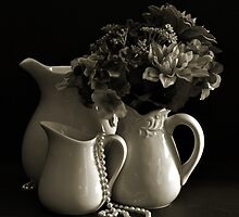 Pitchers and Flowers in Monotone by Sherry Hallemeier