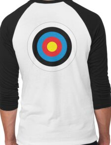 Bulls Eye, Archery, Target, Roundel, Shooting, Hit, Mod, on White Men's Baseball ¾ T-Shirt