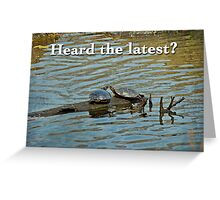 Heard the Latest Hello Hi Greeting Card - Painted Turtles Greeting Card