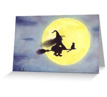 FLYING BY THE FULL MOON Greeting Card