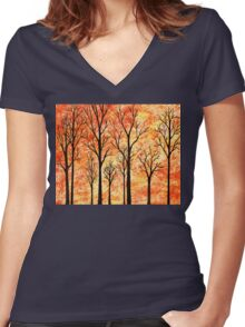 Abstract Woods Women's Fitted V-Neck T-Shirt