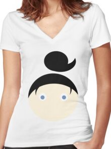 Black Hair Blue Eyed Girl Women's Fitted V-Neck T-Shirt