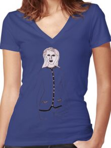 Knitted Lady #4 Women's Fitted V-Neck T-Shirt