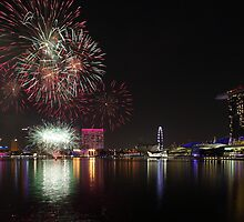 Singapore National Day Parade Fireworks by Mark Bolton
