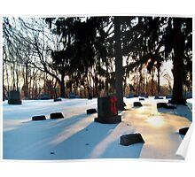 Winter Sunrise At The Cemetery Poster