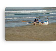 Surf row boats Canvas Print