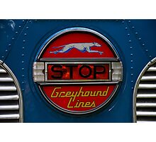 GMC PD 3751 Greyhound Bus stop sign (1947) Photographic Print