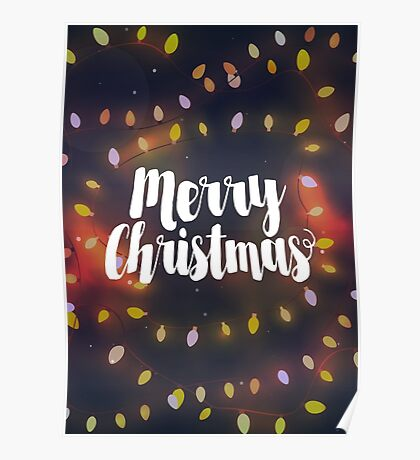 Merry Christmas typography in christmas lights Poster