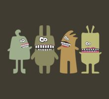 Funny green smiling teeth monsters aliens by BigMRanch