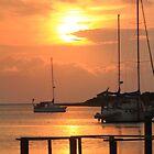 Ocracoke Island Harbor Sunset by Roupen  Baker
