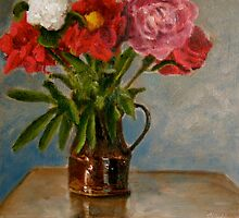 peonies in a brown jug by Jeremy Wallace