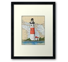 Middle Island Lighthouse MI Nautical Chart Peek Framed Print