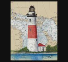 Middle Island Lighthouse MI Nautical Chart Peek One Piece - Short Sleeve