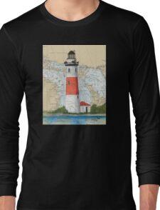 Middle Island Lighthouse MI Nautical Chart Peek Long Sleeve T-Shirt